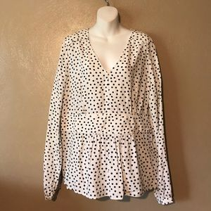 Boden white/navy polka dotted top size 16